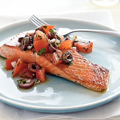 Pan-Seared Salmon with Kalamata Olives and Salsa Cruda