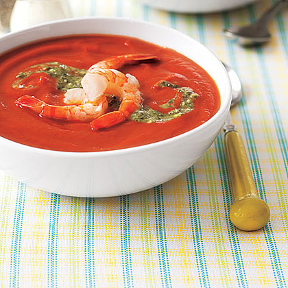 Chilled Tomato Soup with Shrimp and Pesto