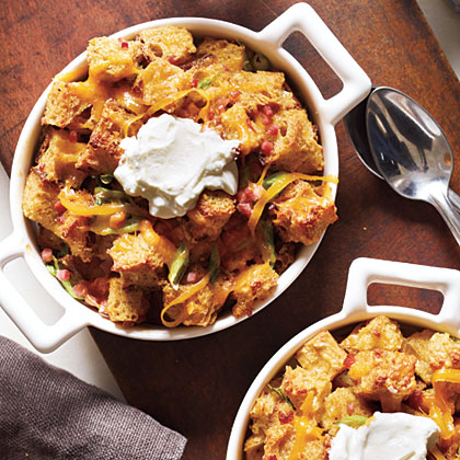 Savory Bread Puddings with Ham and Cheddar