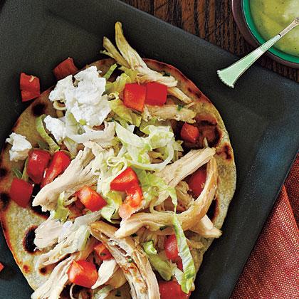 Chicken Tostadas and Avocado Dressing