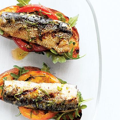 Grilled Sardine, Tomato, and Mint Bruschetta