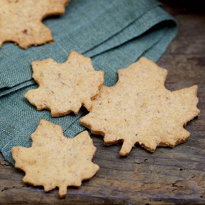 Cheddar-Pecan Shortbread Leaves