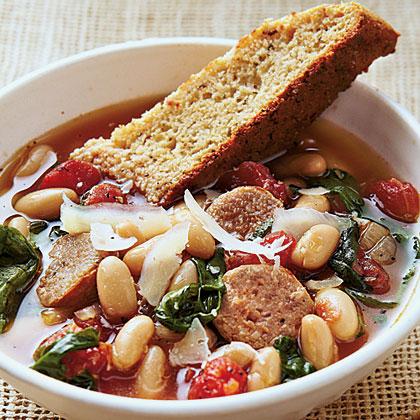 Hearty Italian Soup with Parmesan-Pepper Cornbread Biscotti