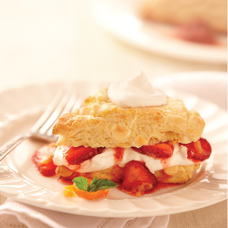 White Chocolate Scones with Citrus Strawberries