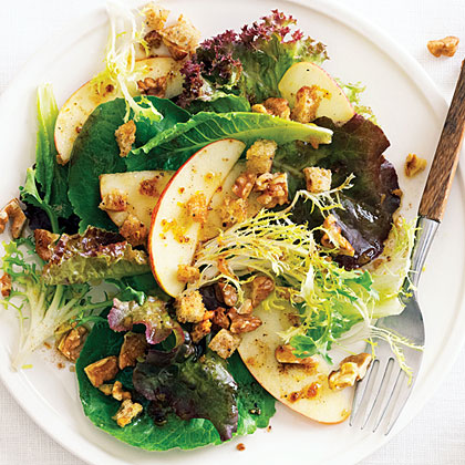Fall Green Salad with Apples, Nuts, and Pain d'Épice Dressing