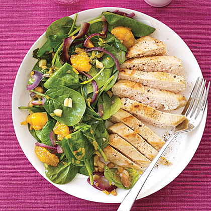 Wilted Spinach Salad with Chicken and Mandarin Oranges