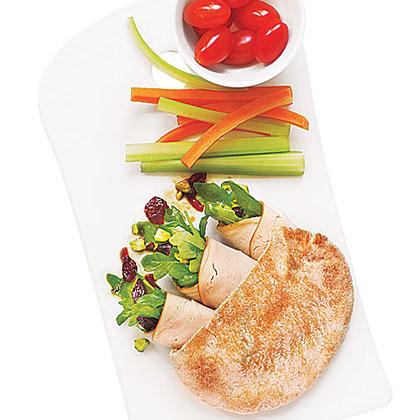 Turkey and Arugula Roll-Up Pita Sandwich