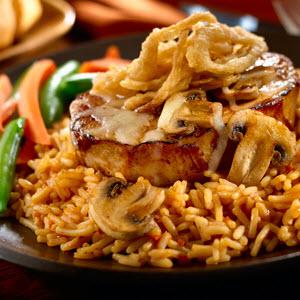 Cowboy Pork Chops with BBQ Rice