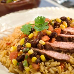 Steak & Fajita Rice with Black Bean & Corn Salsa