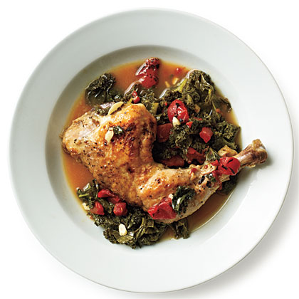 Braised Chicken with Kale