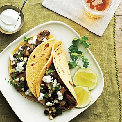 Mushroom, Corn, and Poblano Tacos