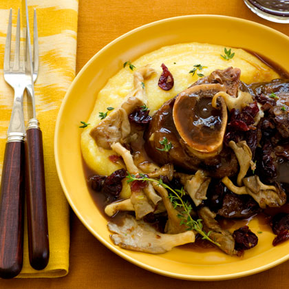 Beef Shank with Mushrooms and Cranberry Sauce