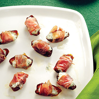 Warm Dates with Soft Blue Cheese and Prosciutto