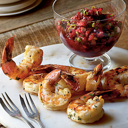Grilled Shrimp with Fresh Cranberry Salsa