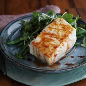 Vanilla Butter Poached Halibut with Ancho Orange Drizzle