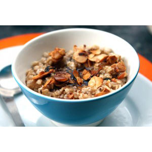 Spiced Oatmeal with Candied Almonds