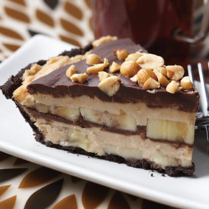 Frozen Chocolate Peanut Butter Banana Pie