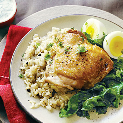 Spiced Chicken Pilaf with Eggs
