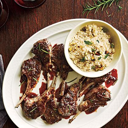 Currant-Glazed Lamb Chops with Pistachio Couscous