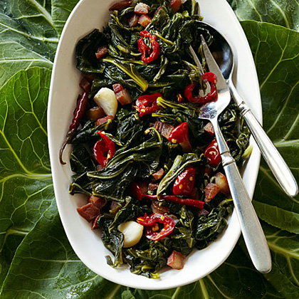 Collard Greens with Guanciale and Chiles