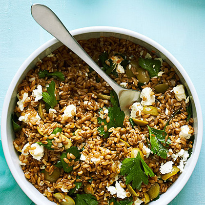 Farro, Green Olive, and Feta Salad