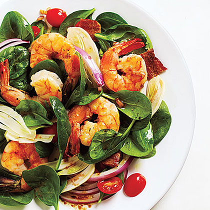 Fennel and Spinach Salad with Shrimp and Balsamic Vinaigrette