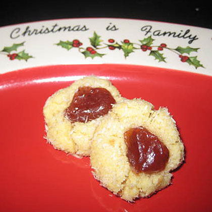Coconut Almond Thumbprint Cookies