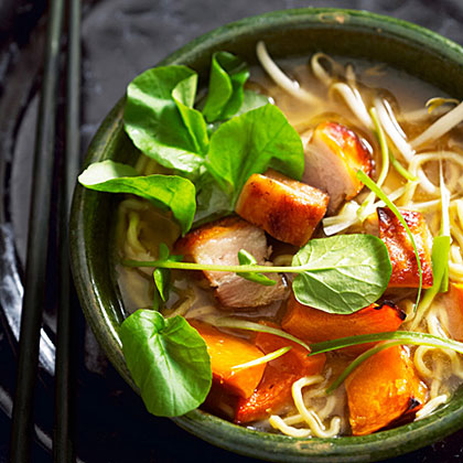 Ramen with Ginger Roasted Squash and Crispy Pork Belly