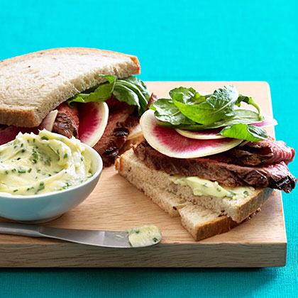 Steak and Watermelon Radish Sandwiches