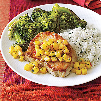 Sautéed Pork Chops with Pineapple and Mint