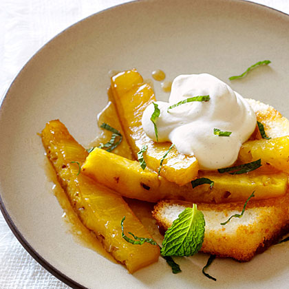 Roasted Pineapple Shortcakes with Cinnamon Whipped Cream