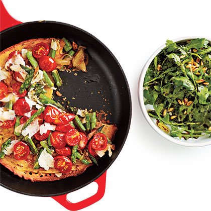 Asparagus, Tomato, and Onion Farinata
