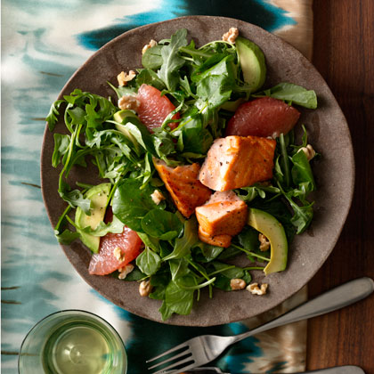 Grapefruit and Avocado Salad With Seared Salmon