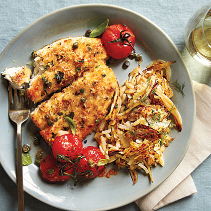 Crispy Flounder and Roasted Tomatoes
