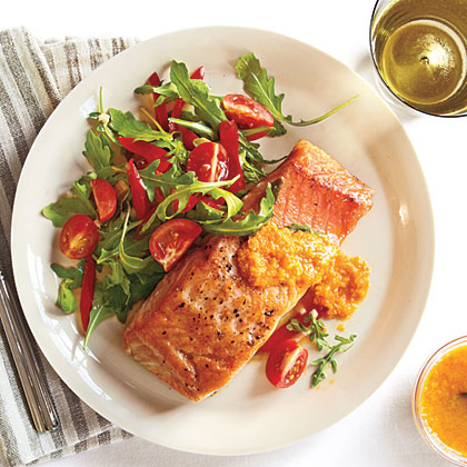 Crispy Salmon and Arugula Salad with Carrot-Ginger Vinaigrette