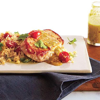 Pork over Couscous with Pistachio-Lemon Vinaigrette