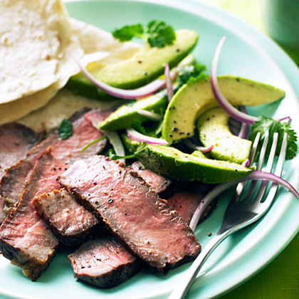Grilled Steak with Avocado and Red Onion Salad