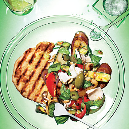 Grilled Caponata Salad with Grilled Flatbreads