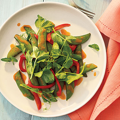 Snap Pea and Pea Shoot Stir-Fry with Gingery Orange Sauce