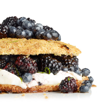 Cornmeal Shortcake with Maple Berries
