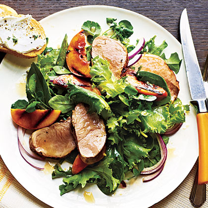 Pork Tenderloin Salad and Grilled Nectarines