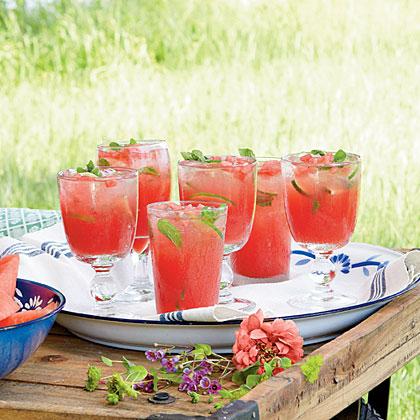 Honeysuckle-Watermelon Cocktails