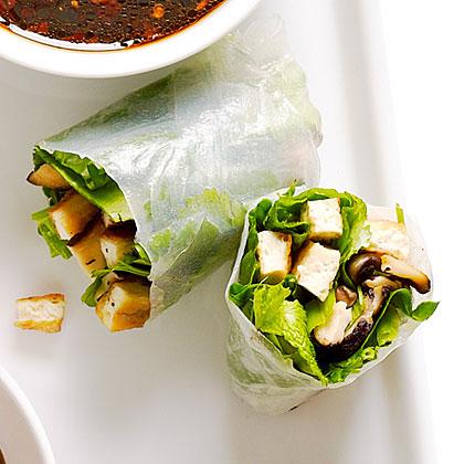 Crisp Tofu, Shiitake, and Spinach Summer Rolls