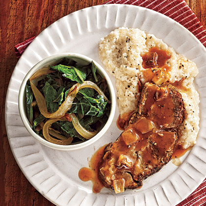 Braised Pork with Slow-Cooked Collards, Grits, and Tomato Gravy