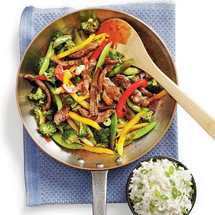 """PB and J"" Steak Stir-fry with Rice"