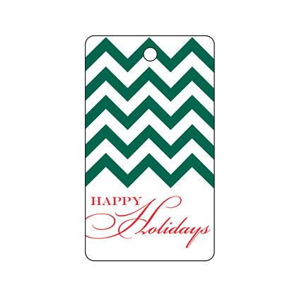 Holiday Gift Tag - Holiday Green Chevron