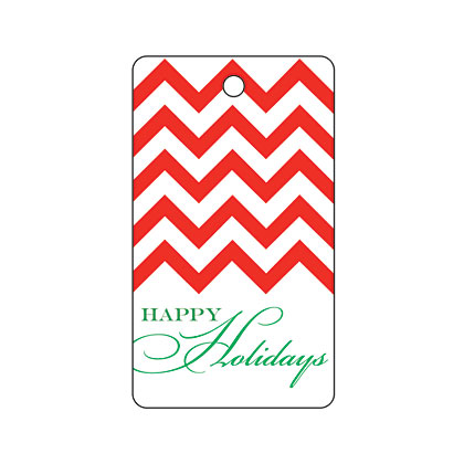 Holiday Gift Tag - Holiday Red Chevron