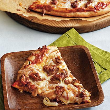 Caramelized Onion and Turkey Sausage Pizza