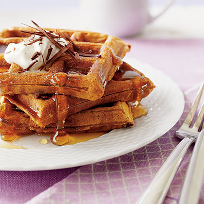 Pumpkin-Chocolate Waffles