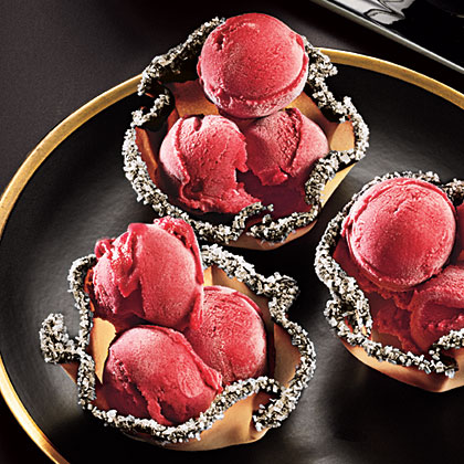 Cranberry Sherbet in Tuile Cups